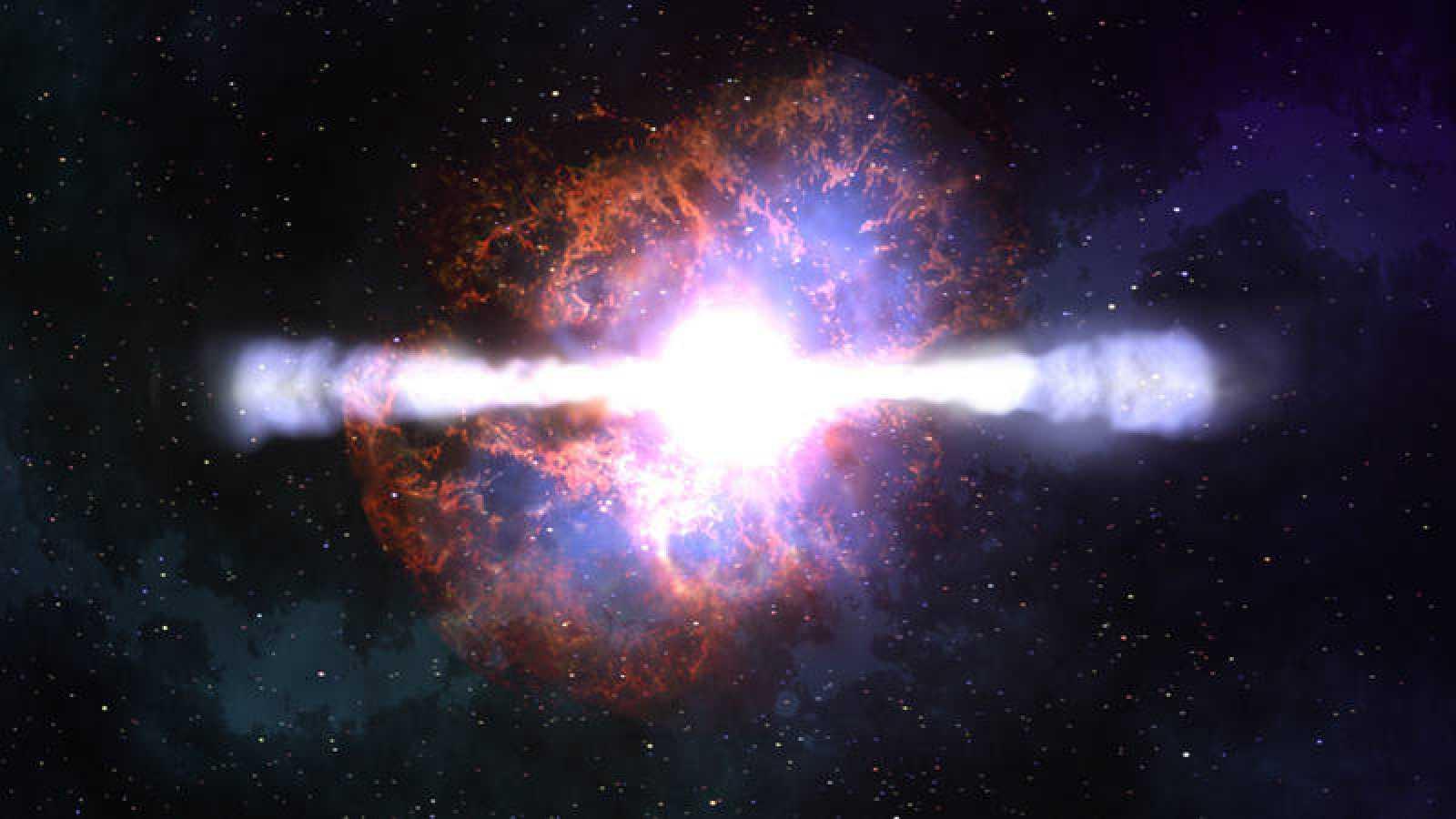 Representación artística de un estallido de rayos gamma.