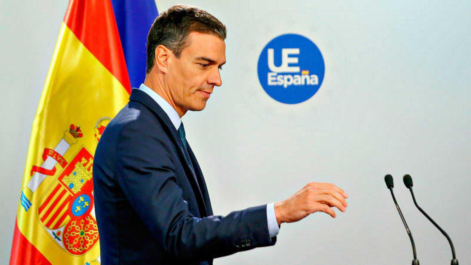 Pedro Sánchez, que ejerce como negociador de los socialdemócratas europeos, en la rueda de prensa de este viernes