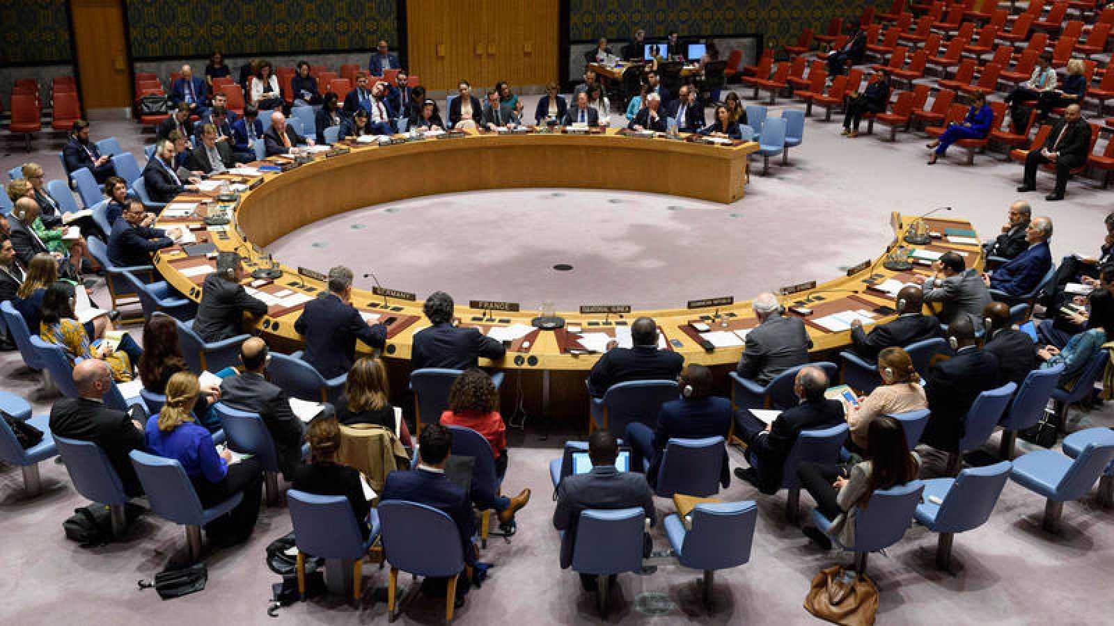 El pleno del Consejo de Seguridad de la ONU durante una reunión sobre la situación en Oriente Medio.