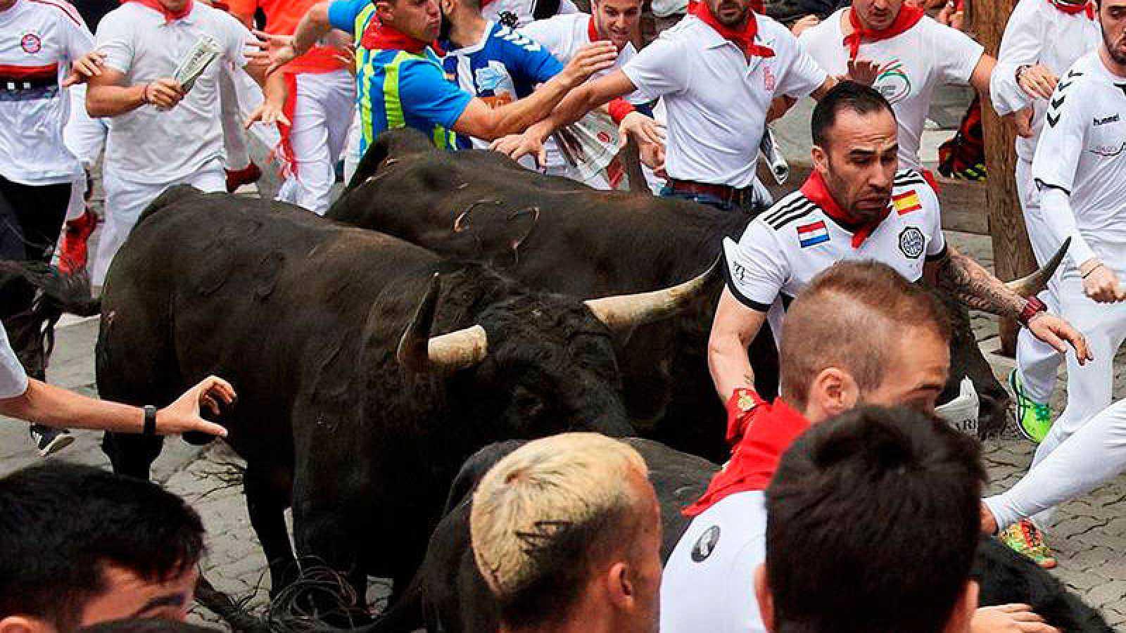 Los toros de la ganadería extremeña de Jandilla, en el encierro de 2018