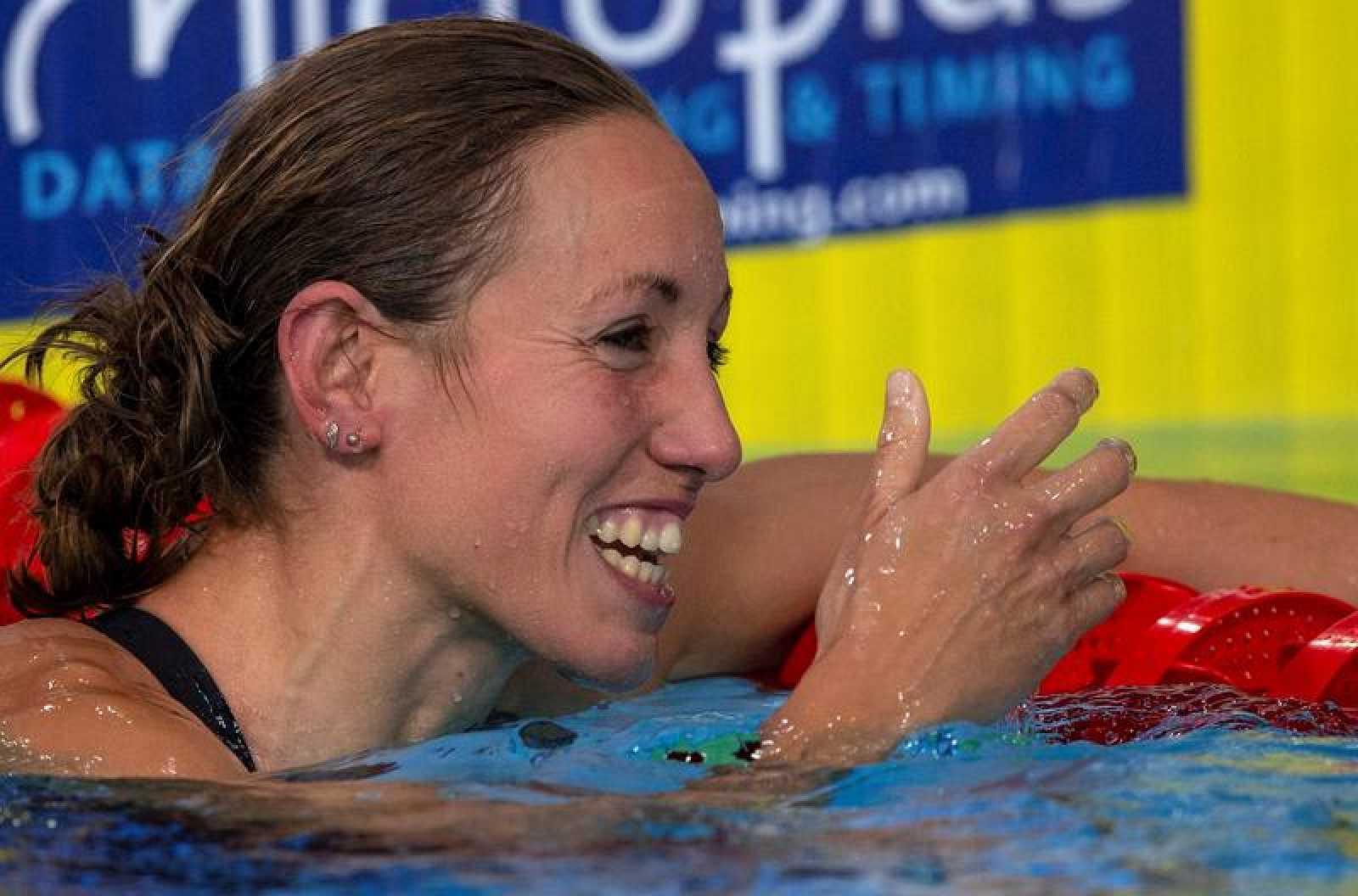 Jessica Vall, tras nadar una final en el Europeo de Glasgow (2018)