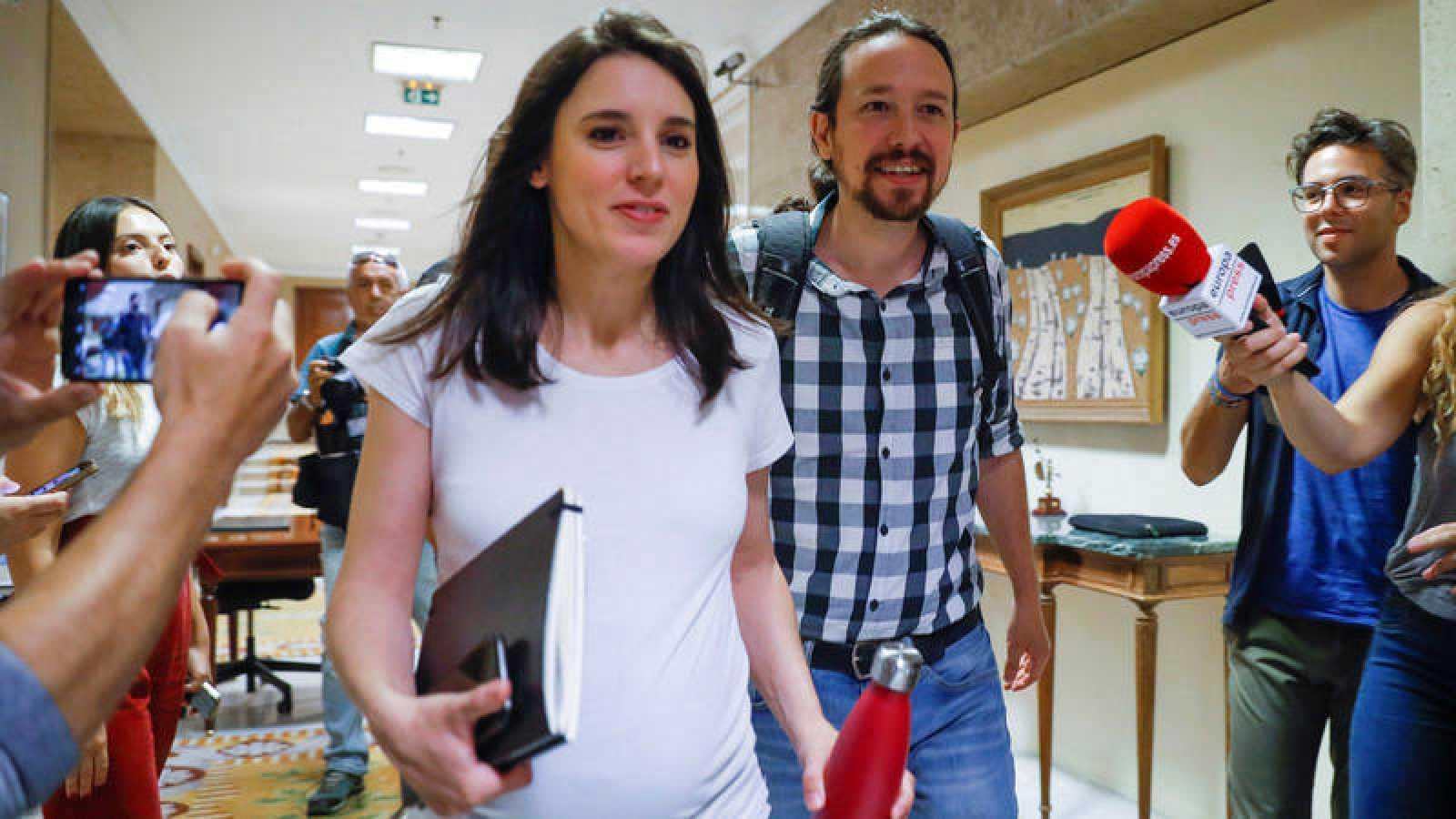 El líder de Unidas Podemos, Pablo Iglesias, y la portavoz parlamentaria del partido, Irene Montero.