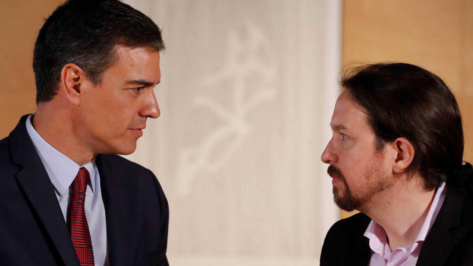 Pedro Sánchez y PabloIglesias, en la reunión que mantuvieron el pasado 9 de julio en el Congreso
