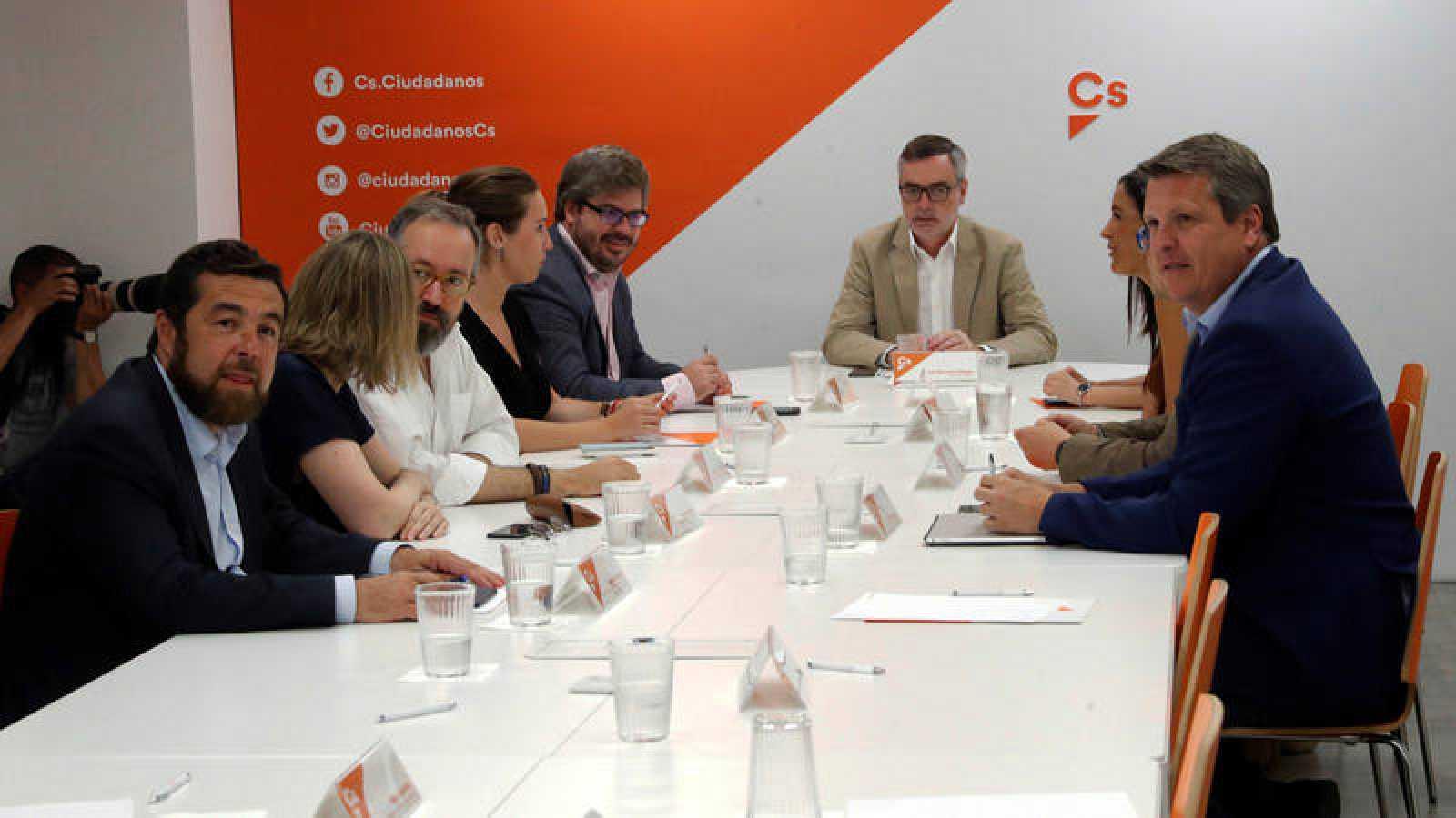 El secretario general de Ciudadanos José Manuel Villegas, durante la reunión de la ejecutiva semanal.