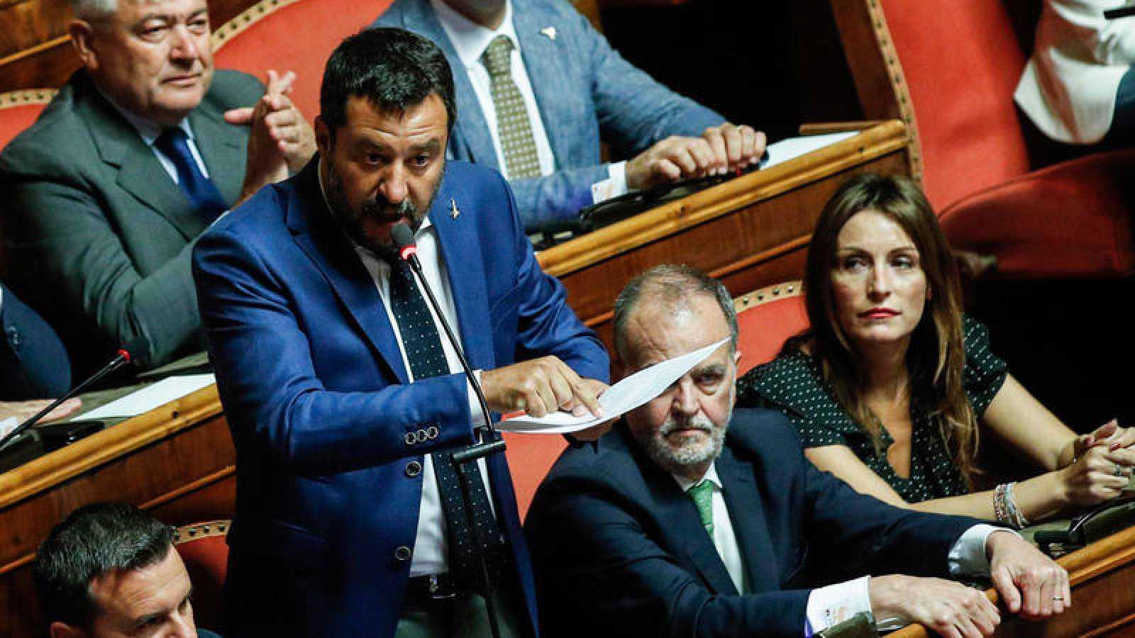 El ministro del Interior, Matteo Salvini, durante el pleno del Senado