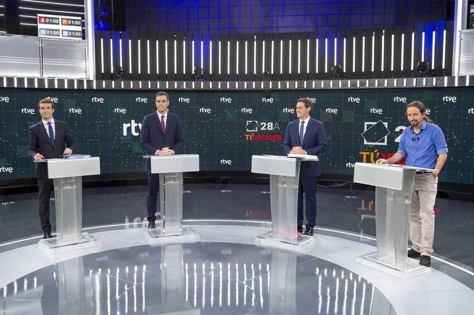 Los candidatos, en el debate celebrado en RTVE antes de las pasadas elecciones
