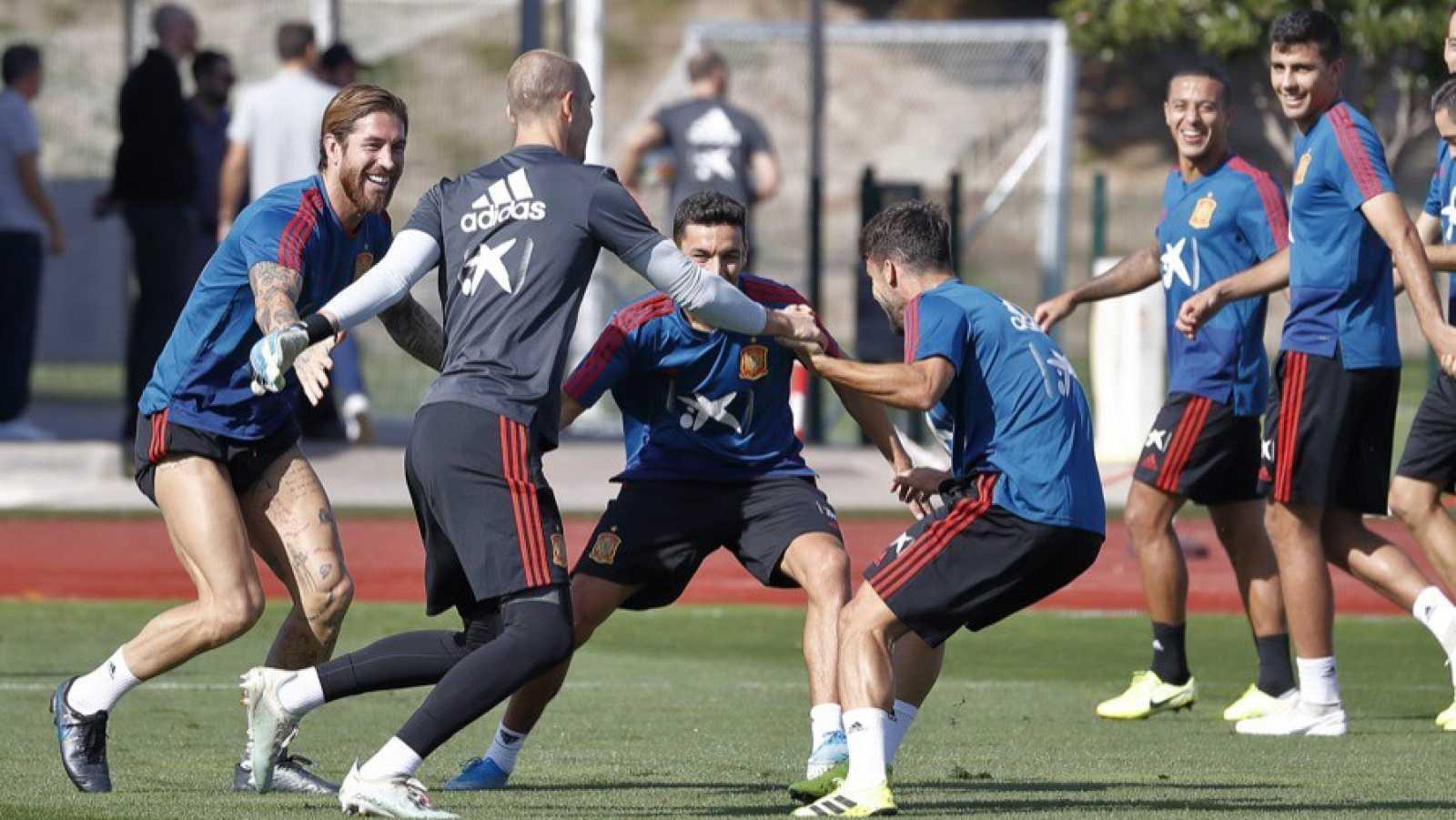 Imagen del entrenamiento de la selección española en Las Rozas.