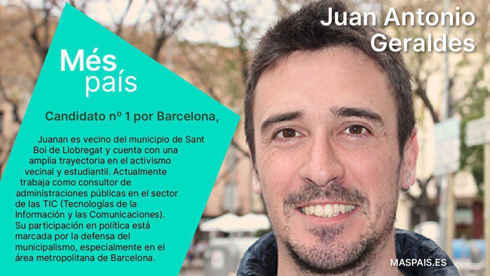 Juan Antonio Geraldés, cabeza de lista en Barcelona en Más País