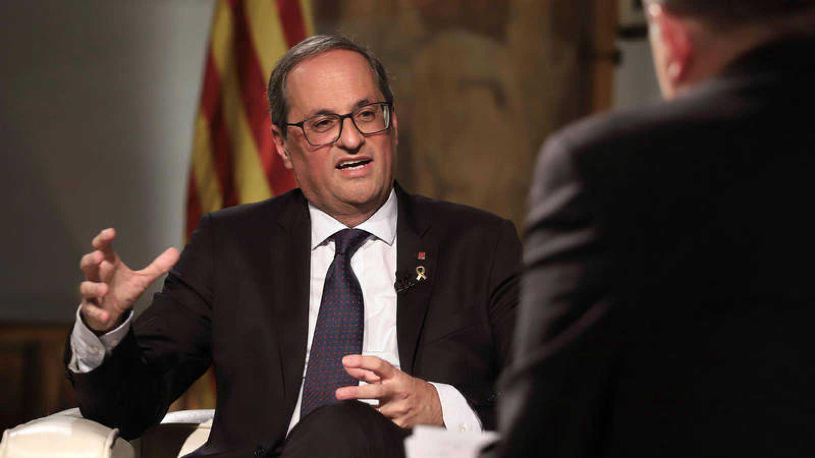 El presidente catalán, Quim Torra, en el Palacio de la Generalitat