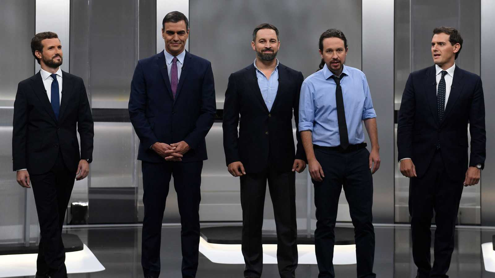 Candidatos en el debate a cinco