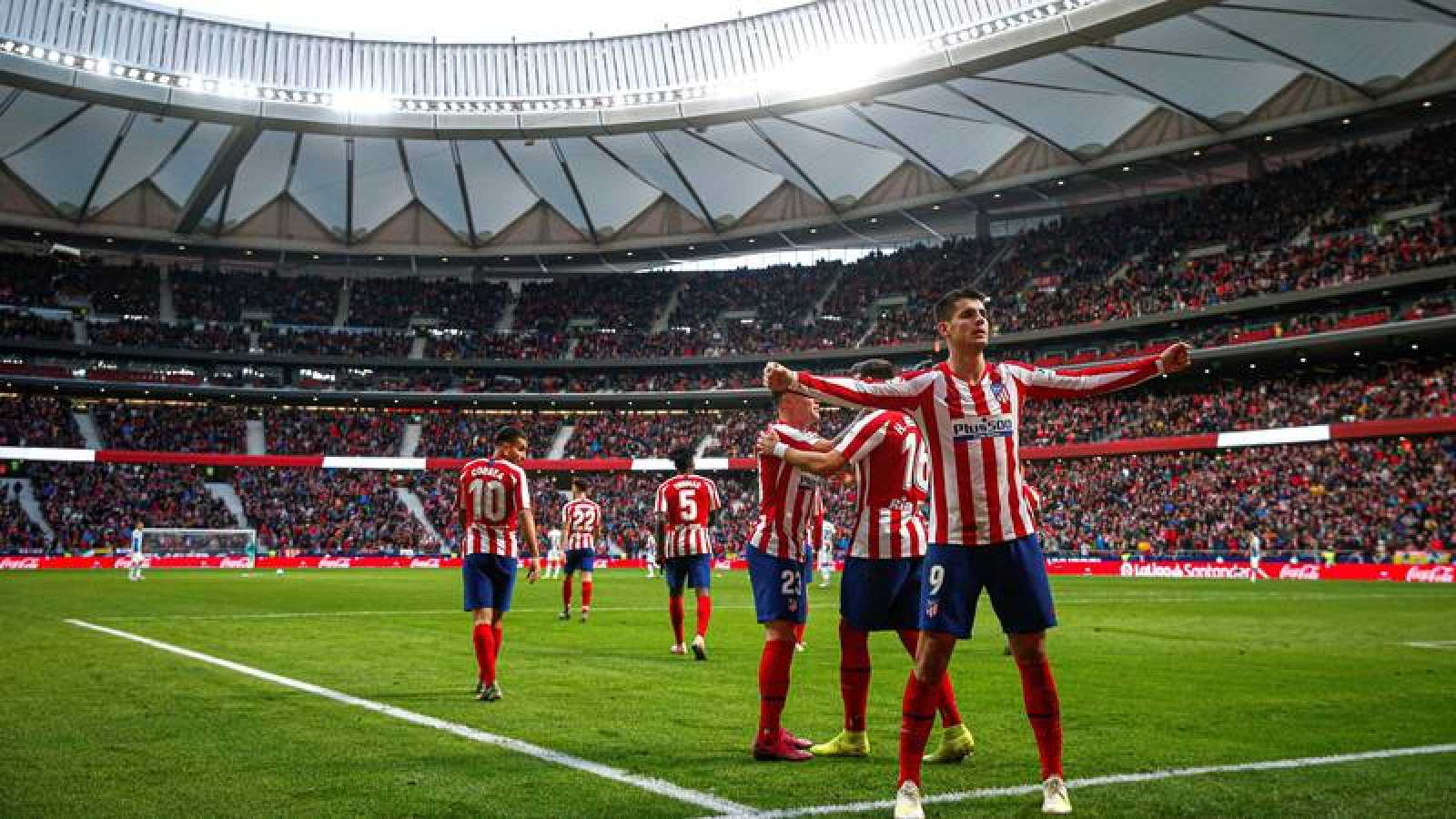 Morata celebra su gol ante el Espanyol