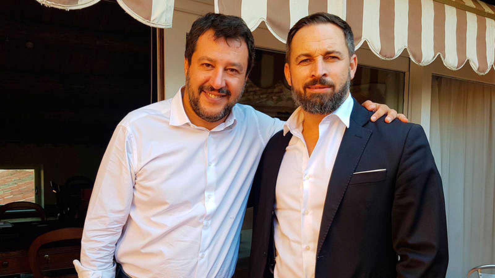 Imagen del encuentro entre Santiago Abascal (d) y Matteo Salvini (i) el pasado septiembre en Roma