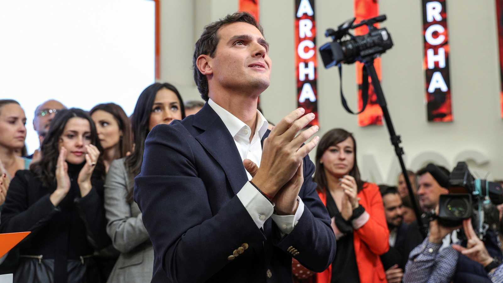 El presidente de Ciudadanos,AlbertRivera, en la rueda de prensa en la que anunció su dimisión.