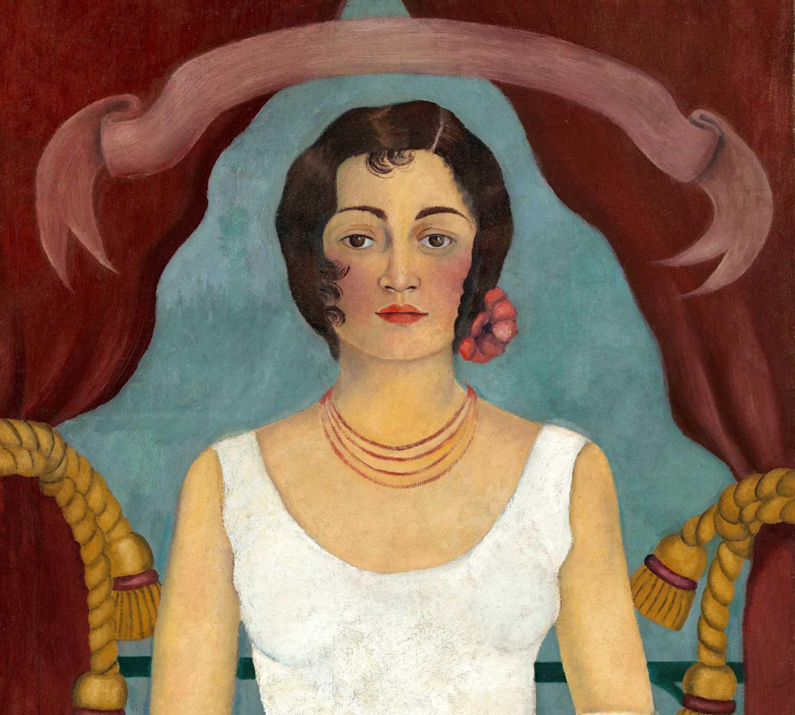 """Obra de  la  """"Mujer de blanco"""" de Kahlo"""