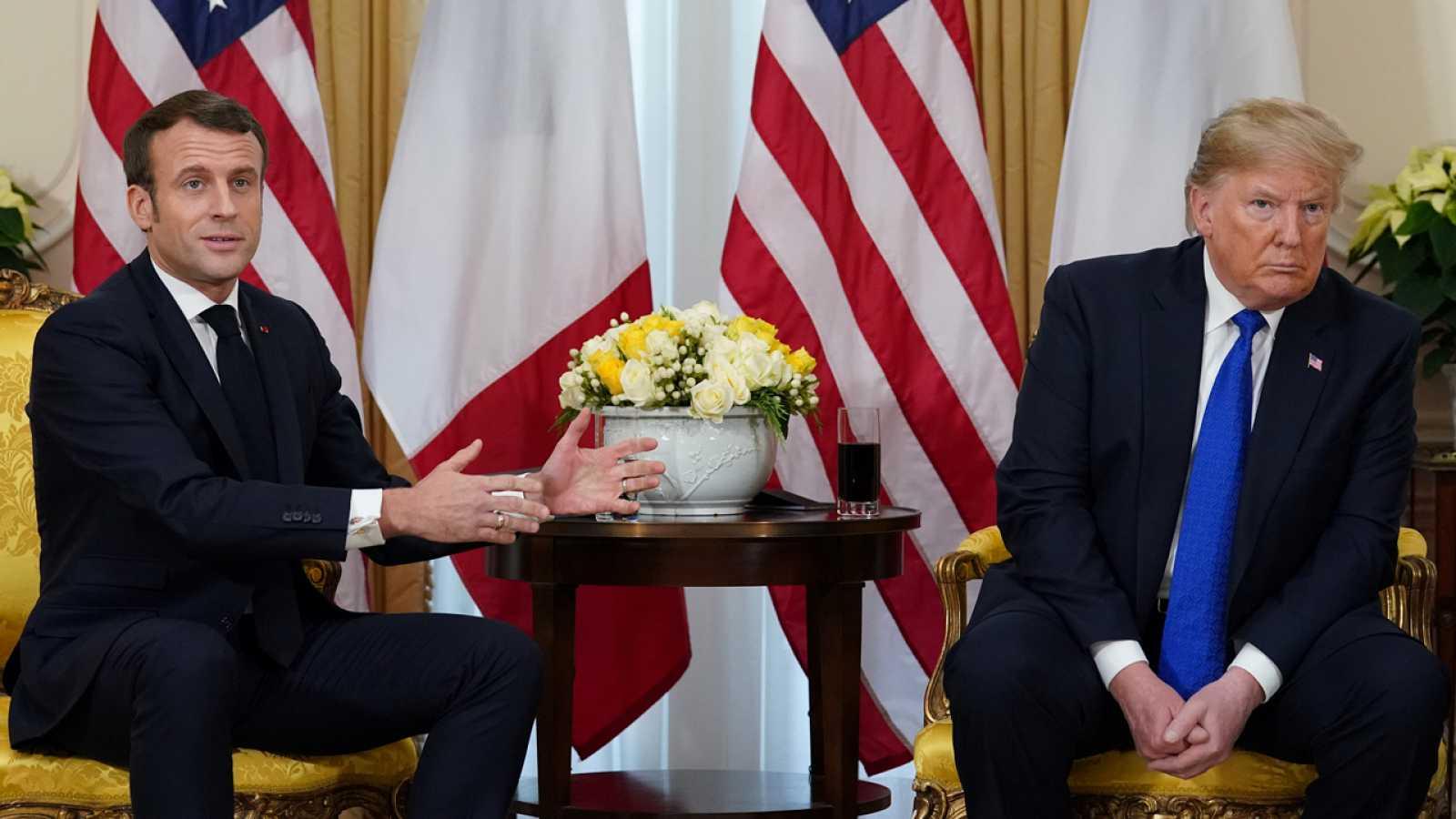 El presidente francés, Emmanuel Macron, con su homólogo estadounidense, Donald Trump, en Londres