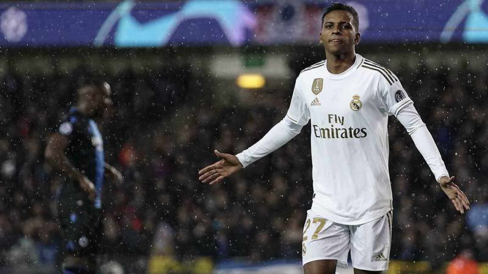 Rodrygo Goes celebra su gol ante el Brujas para el Madrid.