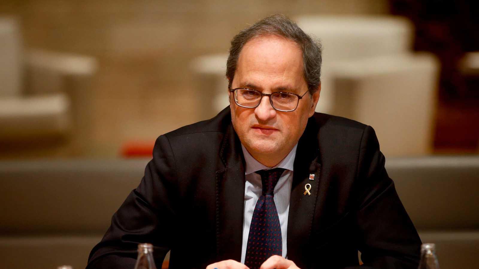El presidente catalán, Quim Torra, durante una reunión en el Palau de la Generalitat.