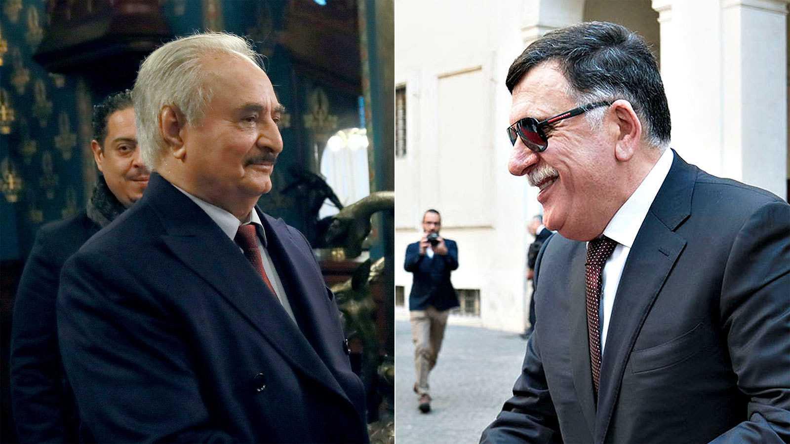 El líder del Ejército Nacional Libio, el mariscal Jalifa Hafter, y el jefe del Gobierno libio reconocido por la ONU, Fayed al Serraj