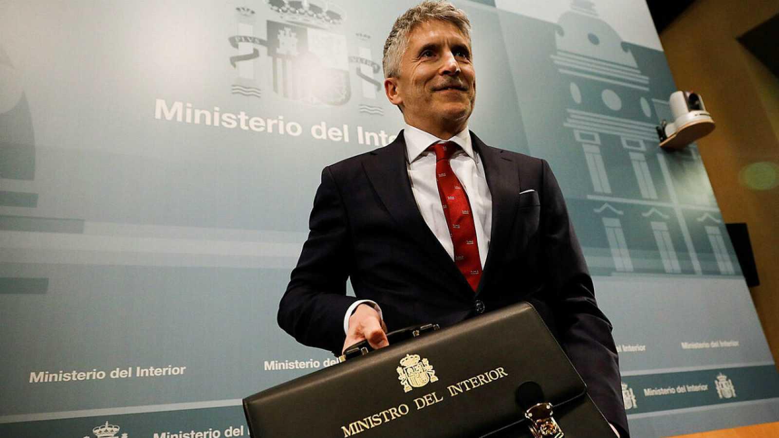 El ministro del Interior, Fernando Grande Marlaska, durante el acto de toma de posesión de su cargo este lunes 13 de enero de 2020, en la sede del Ministerio del Interior en Madrid.