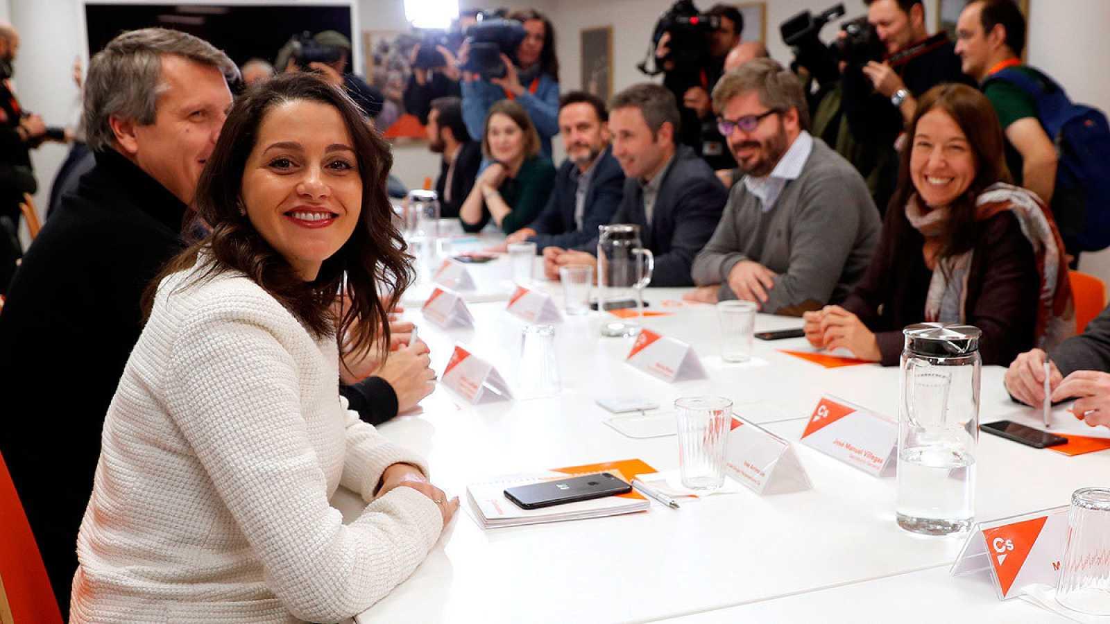 Inés Arrimadas, durante una reunión de la gestora de Ciudadanos.