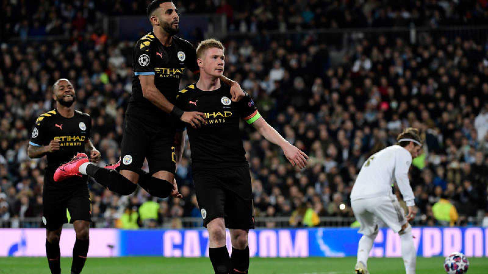 El belga De Bruyne celebra su gol contra el Madrid, el 1-2 para el Manchester City.