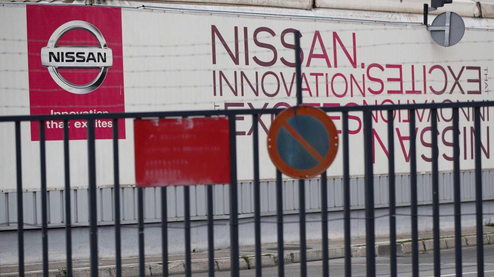 Vista de la entrada de la planta de Nissan que, tras paralizar su producción, ha anunciado que presentará un ERTE a sus trabajadores