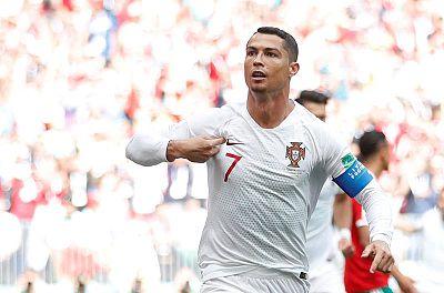 Cristiano Ronaldo celebra su gol frente a Marruecos en la jornada 2 del Mundial de Rusia 2018.