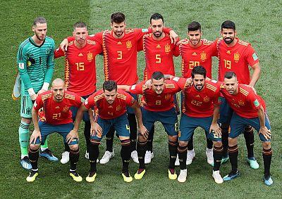 Posado del equipo español antes de disputar el partido de octavos ante Rusia.