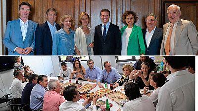 Pablo Casado y Soraya Sáenz de Santamaria, escenificando en sendas comidas el apoyo de varios exministros del Gobierno del PP.
