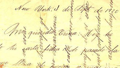 Carta escrita con las líneas del texto cruzadas