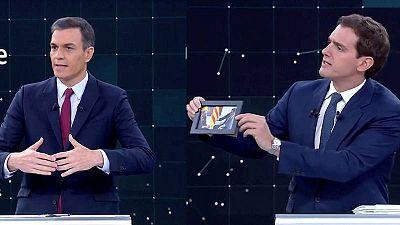 Debate a cuatro en RTVE - Albert Rivera y Pedro Sánchez