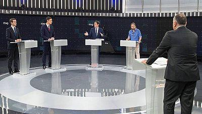 Un momento del debate entre los candidatos de PP, PSOE, Ciudadanos y Unidas Podemos en RTVE.