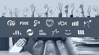 Logotipos de los distintos partidos que concurren a las elecciones generales.
