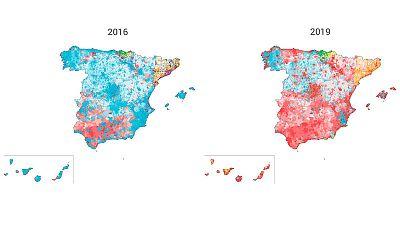 Evolución del voto mayoritario en los municipios de España de 2016 a 2019