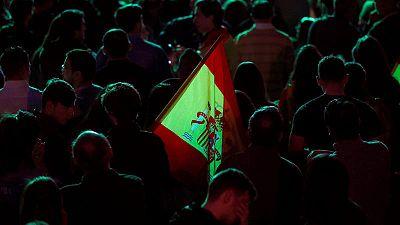 Simpatizantes deVoxen la Plaza Margaret Thatcher, en Madrid, en la noche electoral del 28A.