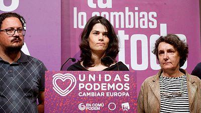 La candidata de Podemos a la Comunidad de Madrid, Isa Serra, comparece en el Teatro Goya de Madrid donde Unidas Podemos realiza el seguimiento de la noche electoral.