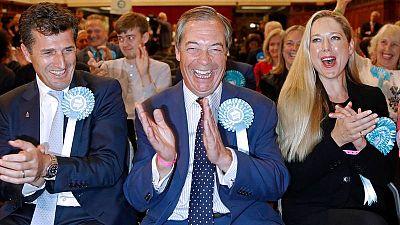 Nigel Farage celebra su victoria en las elecciones europeas en Reino Unido
