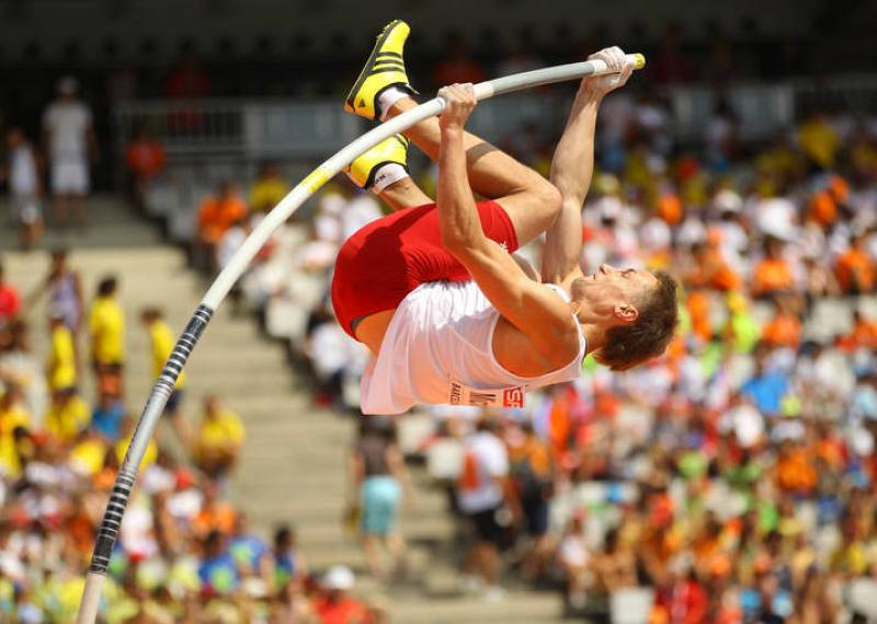 Michalski of Poland competes in men's pole vault qualifications at the European Athletics Championships in Barcelona