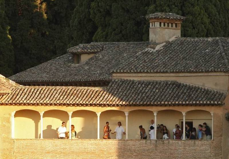 U.S. first lady Michelle Obama visits the Alhambra Palace in Granada, southern Spain