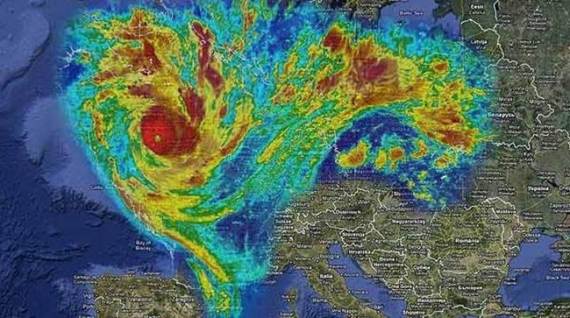 Proyección del ciclón Yasi, que afecta Australia, sobre Europa: cubriría Europa central, los países nórdicos y las Islas Británicas