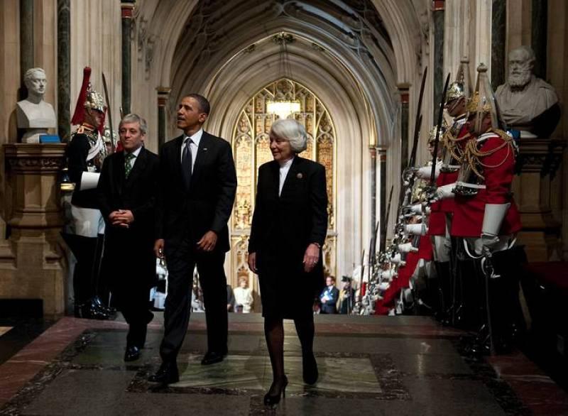 Obama llega a Westminster Hall para hablar ante el Parlamento británico