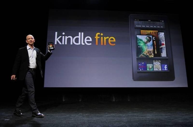 Jeff Bezos, presidente de Amazon, durante la presentación del Kindle Fire