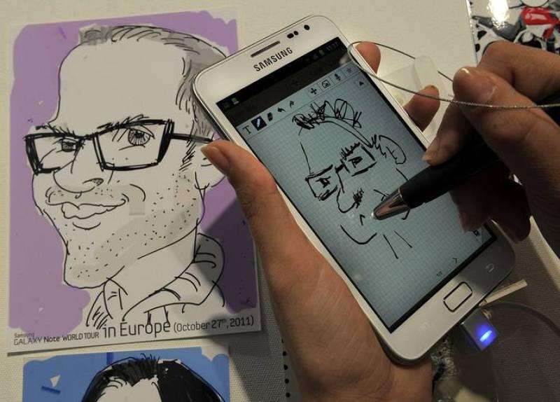 El Samsung Galaxi Note durante una presentación en el MWC.