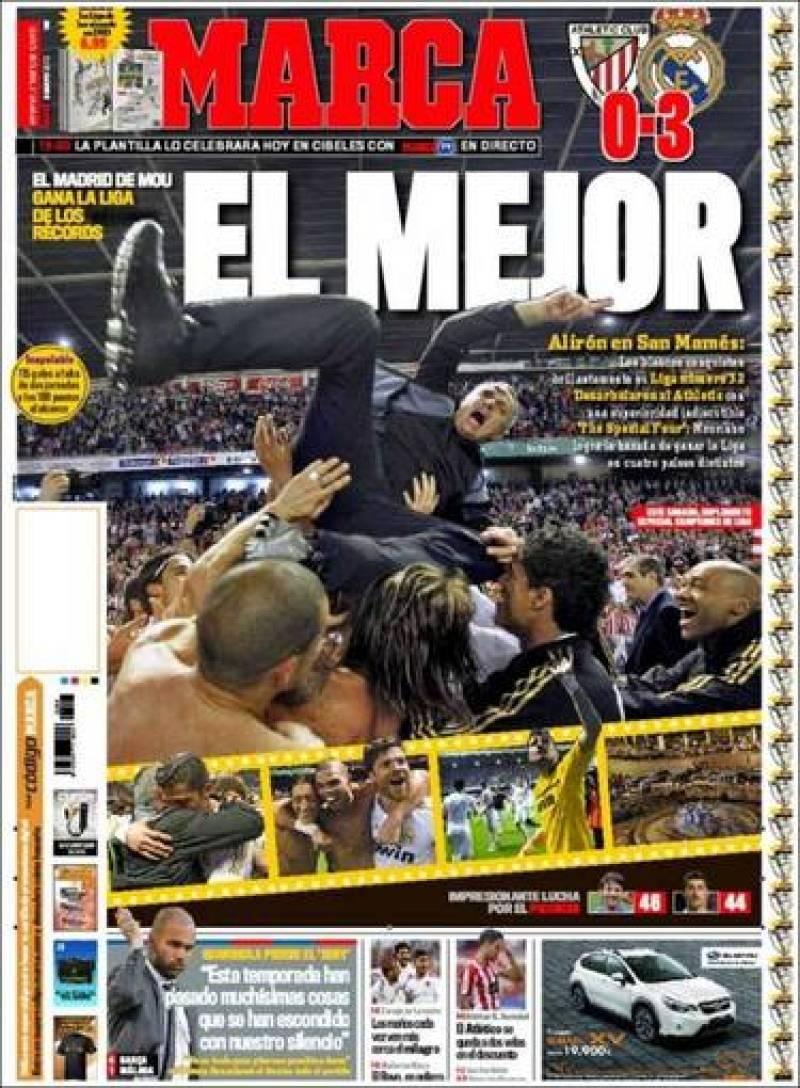 """El diario deportivo Marca titula """"El Mejor"""" con la foto de Mourinho manteado por sus jugadores al finalizar el partido frente al Athletic de Bilbao y que dio la Liga al Real Madrid."""
