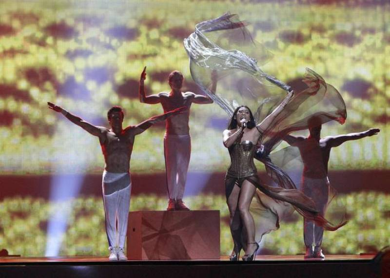 "Anggun of France performs her song ""Echo"" (You And I) during the Grand Final of the Eurovision song contest in Baku"