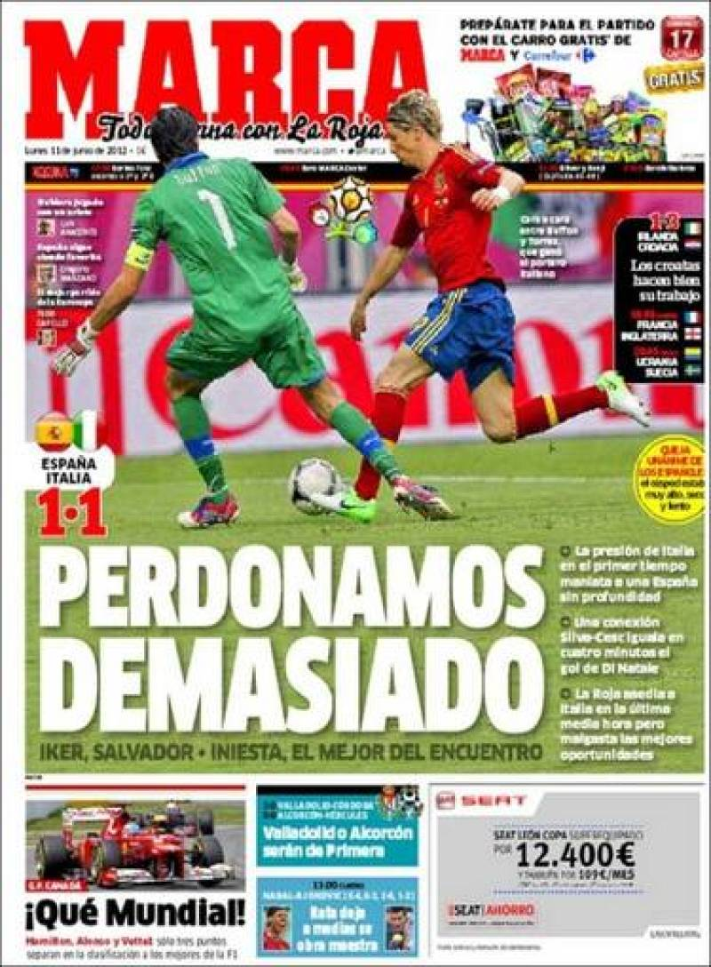 'Perdonamos demasiado', dice el Marca con el empate ante Italia
