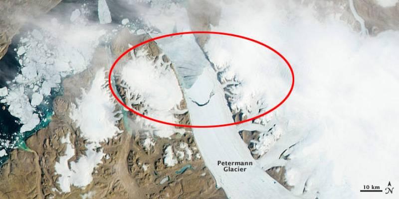 Aspecto del iceberg el día 16 de julio, cuando comenzó a agrietarse