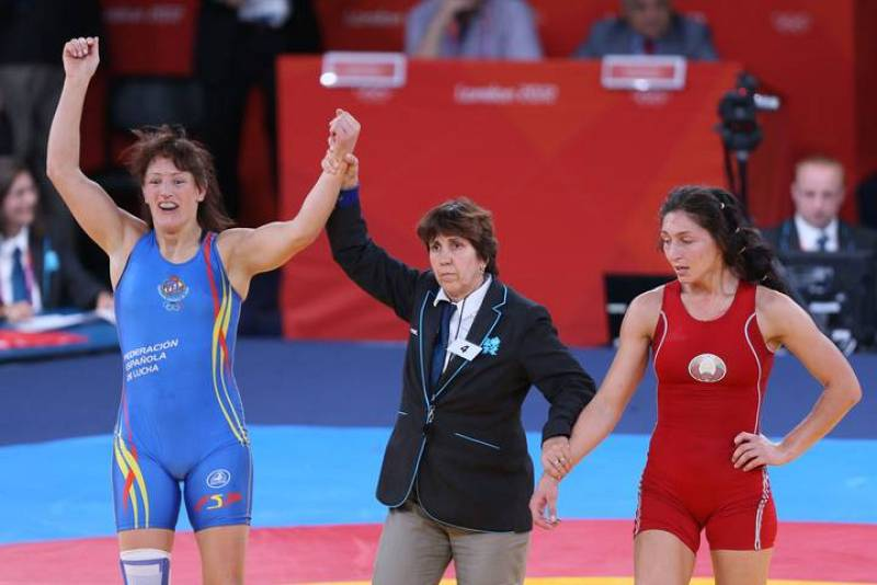 La española Maider Unda celebra su victoria en lucha libre -72kg. tras ganar la medalla de bronce.