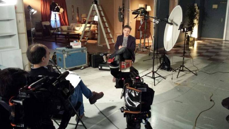 Durante el rodaje del reportaje sobre José Mota