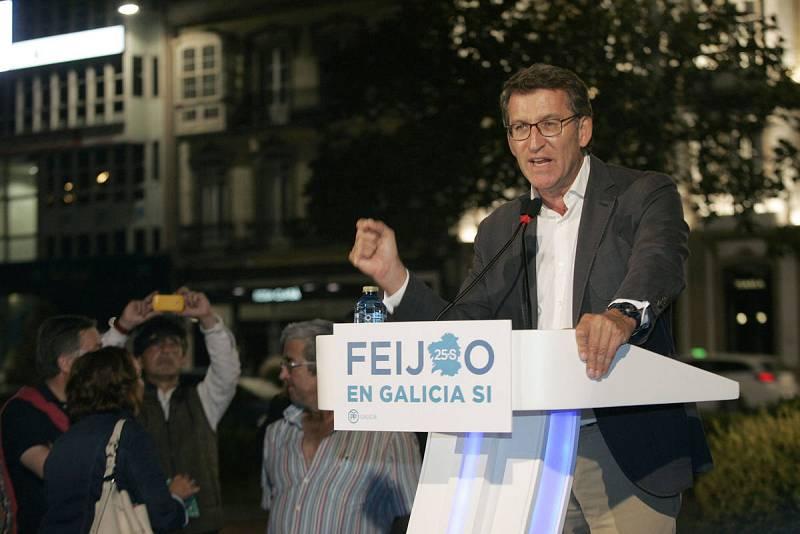 """El candidato del PPdeG a la Presidencia de la Xunta, Alberto Núñez Feijóo, ha pedido el voto en aras del """"progreso"""" de Galicia."""
